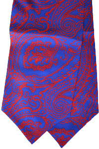 c9297151466f luigi monaco ascot tie hand made in italy - 100% silk royal blue - red  paisley - mona-as-110173 $150 sale $75